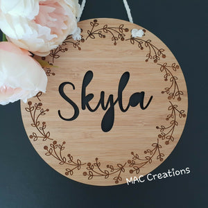 Leaves + Berries - Name Plaque - MAC Creations Laser Co.