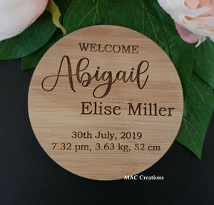 Birth Announcement Plaque - MAC Creations Laser Co.