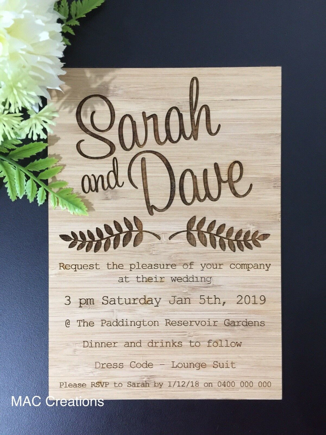Personalised Wedding Invitations - MAC Creations Laser Co.