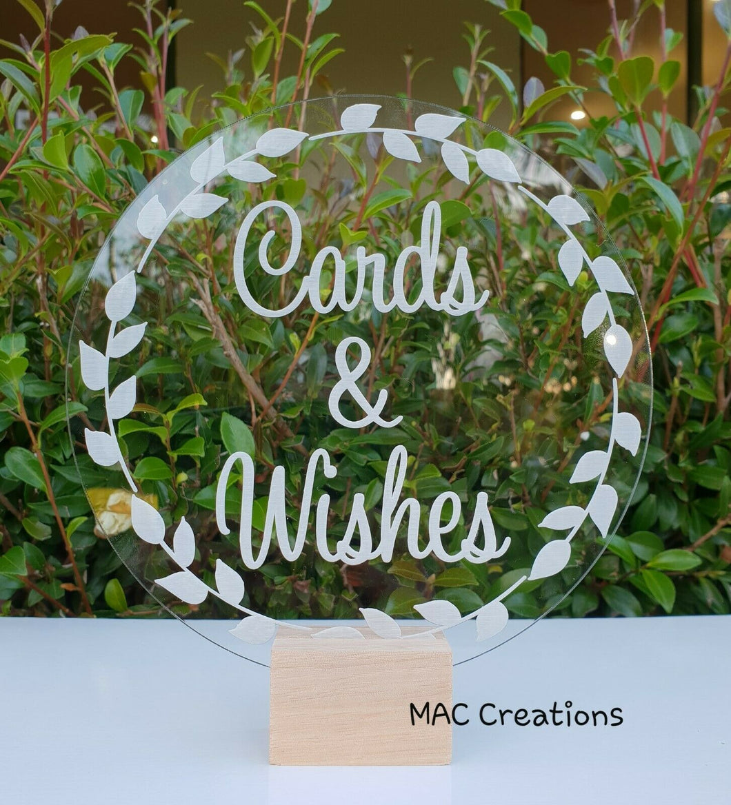 'Cards and Wishes' Sign - MAC Creations Laser Co.