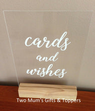 Load image into Gallery viewer, 'Cards and Wishes' (or Gifts) Sign - MAC Creations Laser Co.