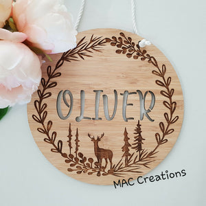 Woodland Deer - Name Plaque - Name Sign - MAC Creations Laser Co.