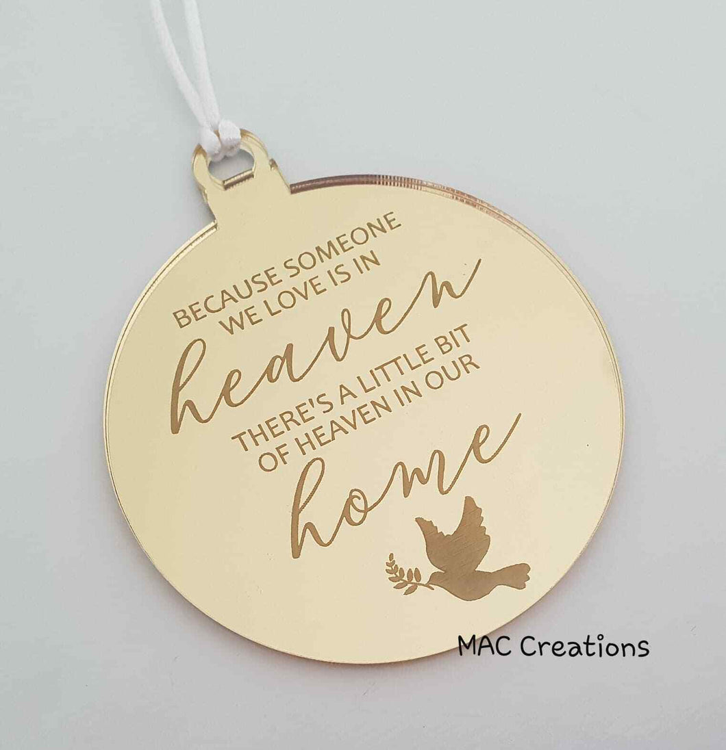 Memorial Ornament - Because someone... - MAC Creations Laser Co.