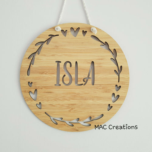 Hearts + Leaves - Name Plaque - Name Sign - MAC Creations Laser Co.