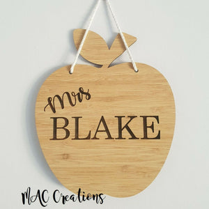 Apple Teacher Door Sign - MAC Creations Laser Co.