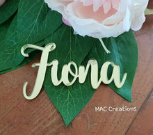 Load image into Gallery viewer, Wooden or Acrylic Place Names - Font 5 - MAC Creations Laser Co.