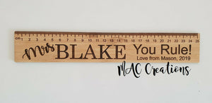 Personalised Bamboo Or Clear Acrylic Ruler - MAC Creations Laser Co.