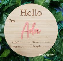 Load image into Gallery viewer, Personalised Birth Details Plaque - MAC Creations Laser Co.
