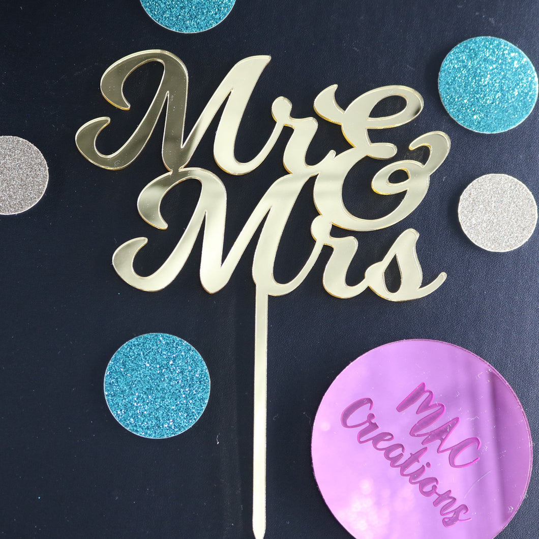 'Mr & Mrs' Cake Topper - MAC Creations Laser Co.