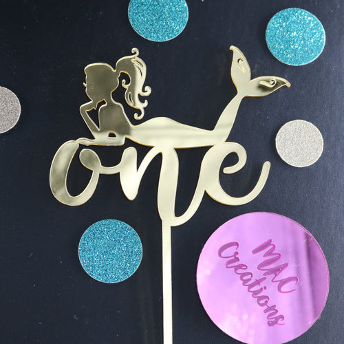 Mermaid Cake Topper - Any Age - MAC Creations Laser Co.