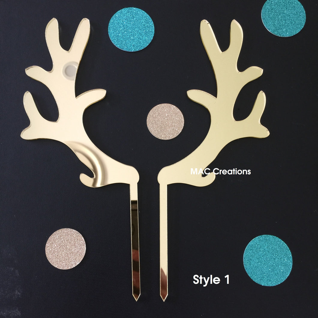 Antlers Cake Topper - Design 1 - MAC Creations Laser Co.