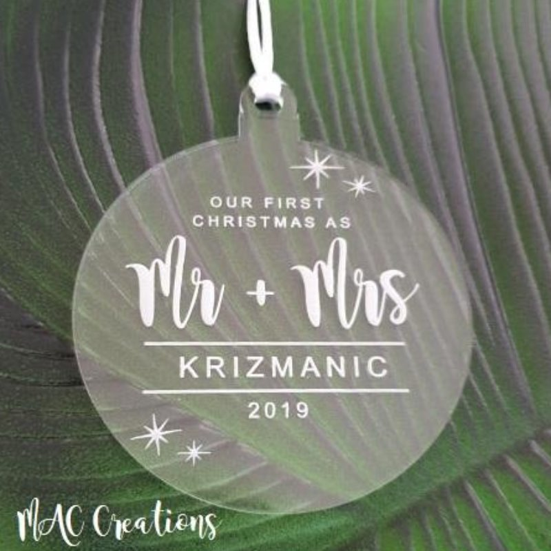 'Mr & Mrs' First Christmas Ornament - MAC Creations Laser Co.