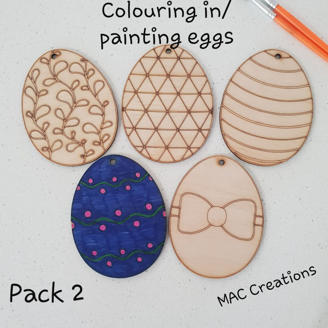 Colouring/Painting Wooden Easter Eggs - Pack 2 - MAC Creations Laser Co.
