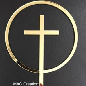 Cross in Circle Religious Cake Topper - MAC Creations Laser Co.