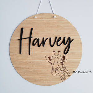 Giraffe - 3D Name Plaque - MAC Creations Laser Co.