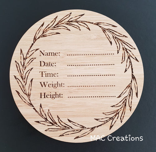 Leaves Birth Details Plaque