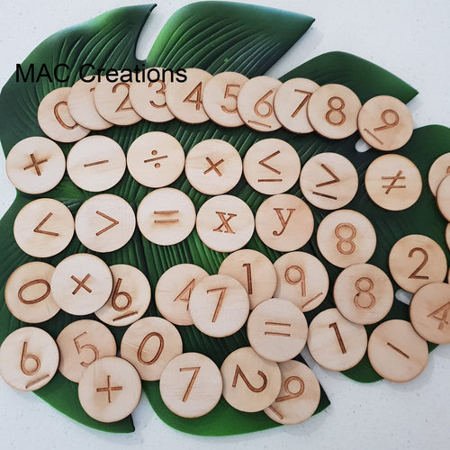 Wooden Maths/Number Discs - MAC Creations Laser Co.