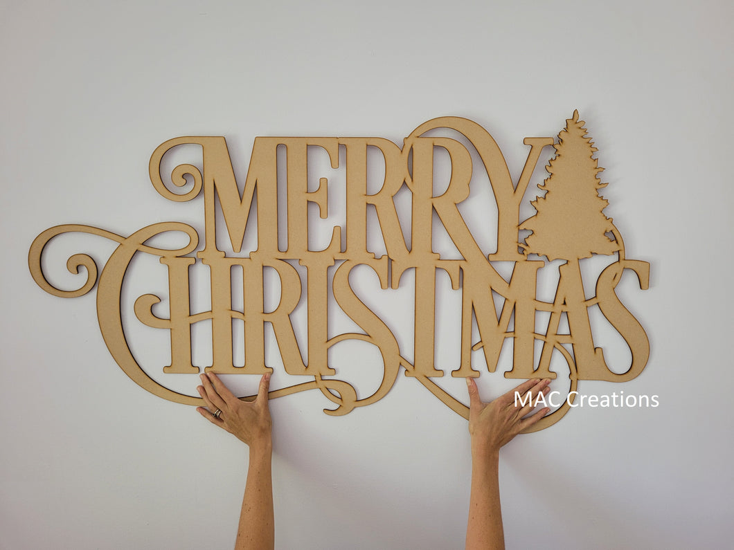 Merry Christmas Sign with Tree