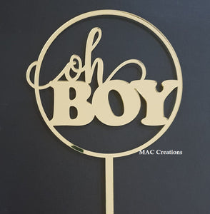 'Oh Boy' Circle Cake Topper - MAC Creations Laser Co.