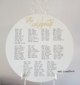 Wedding Seating Chart - MAC Creations Laser Co.