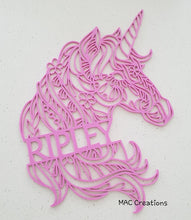 Load image into Gallery viewer, Unicorn Mandala Name Plaque - MAC Creations Laser Co.