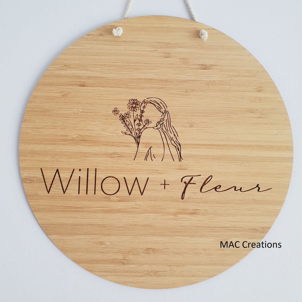 Wooden Business Flat Lay Disc or Mega Sign - MAC Creations Laser Co.