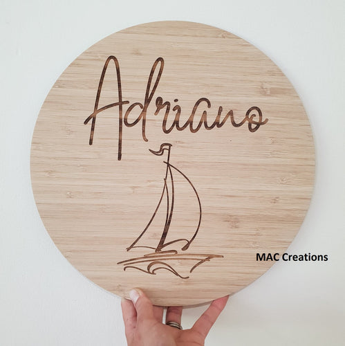 Sailing Boat - Name Plaque - MAC Creations Laser Co.