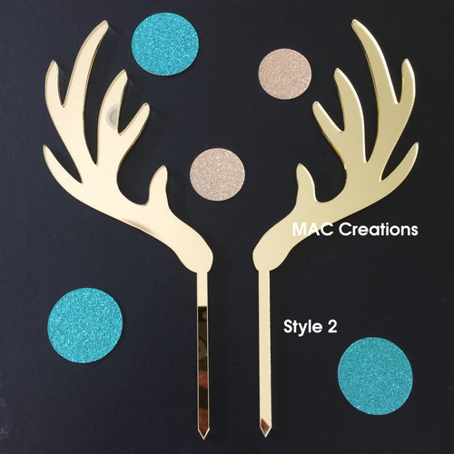 Antlers Cake Topper - Design 2 - MAC Creations Laser Co.