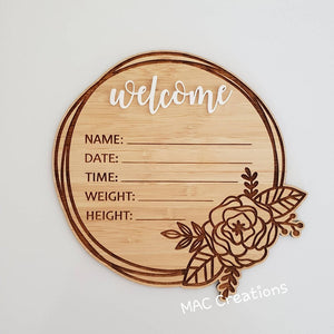 Birth Details Plaque - Welcome