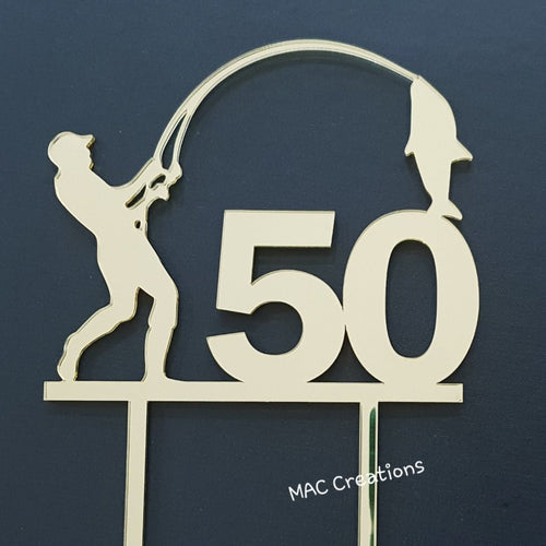 Fisherman Cake Topper - Any Age - MAC Creations Laser Co.