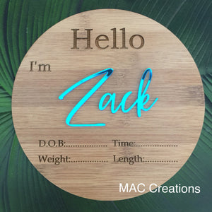 Personalised Birth Details Plaque - MAC Creations Laser Co.