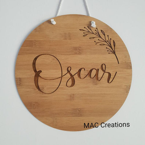 Name Plaque with Small Branch - MAC Creations Laser Co.