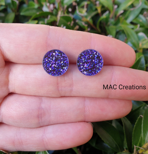 Purple Glitter Stud Earrings