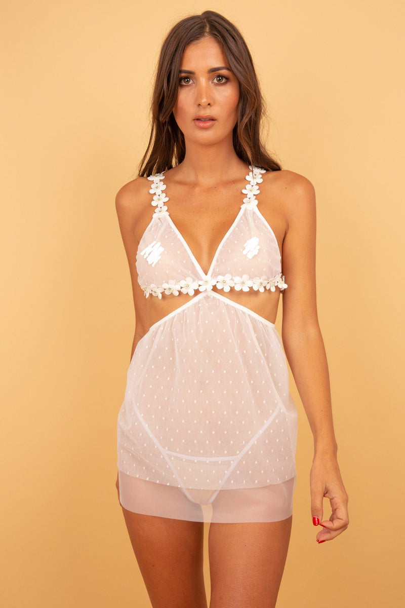 Willow Pearl White Babydoll