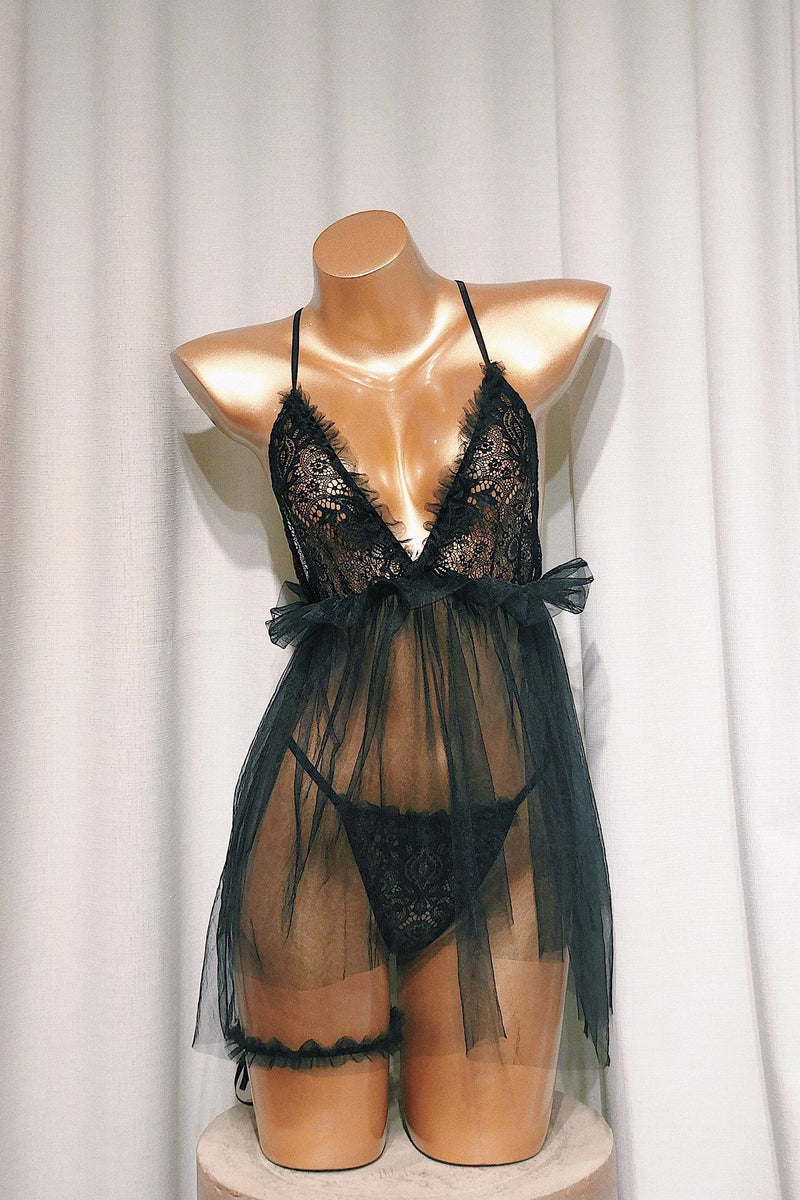 Toula Black Babydoll Set