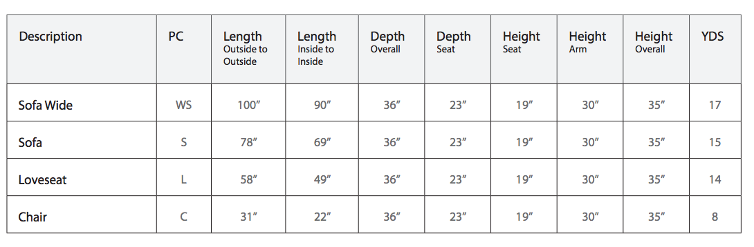 Product Dimensions for Adam Sofa by Stylus