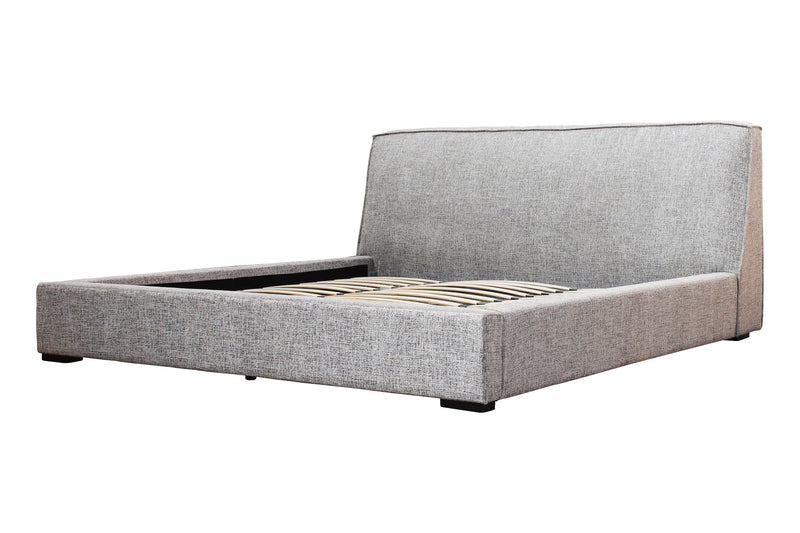 PLAZA KING BED - TWEED GREY FABRIC