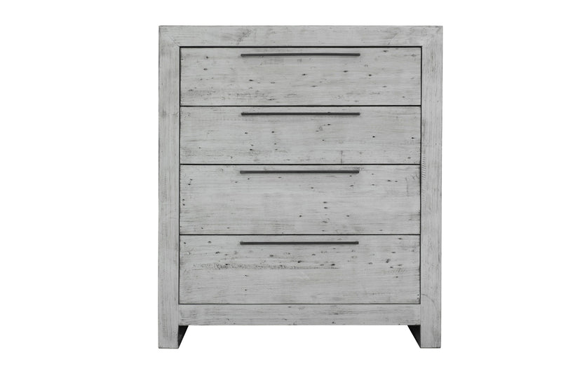 MALIBU 4 DRAWER CHEST - RUSTIC WHITE