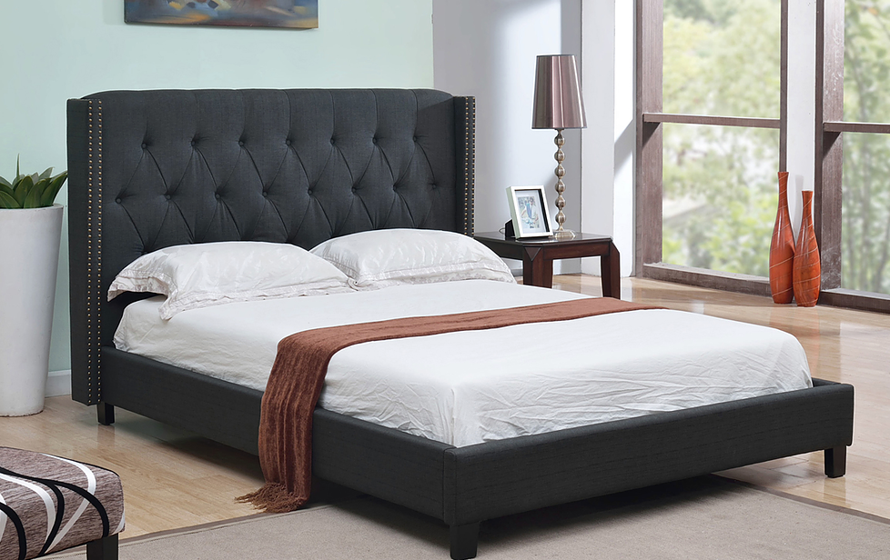 Charcoal linen bed