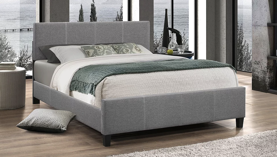Light grey fabric bed