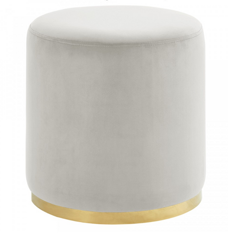 Sonata Round Ottoman in Ivory and Gold