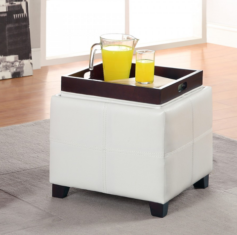Anton II Square Storate Ottoman in White