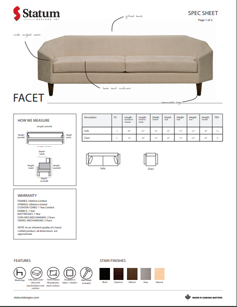 Facet Sofa by Statum
