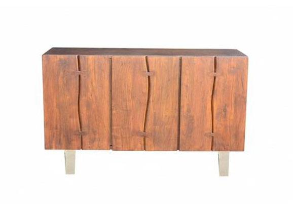 Verde Live Edge Sideboard in Dark Walnut/Nickel Antique