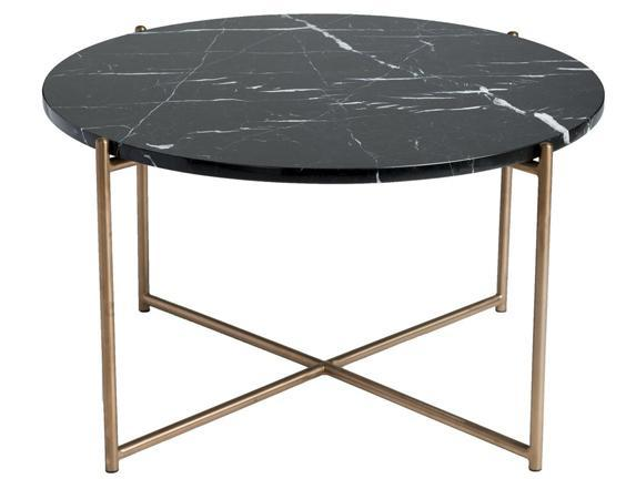 Venice Round Coffee Table in Black Marble and Brass