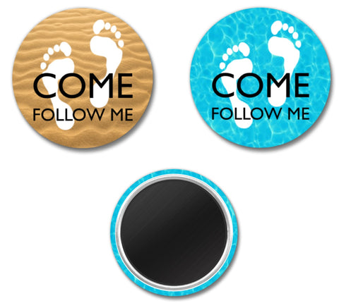 """Come, Follow Me"" MAGNET - 1.5"" - Feet"