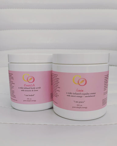 Body Bundle: Touch body scrub + Love body creme, 8 oz each
