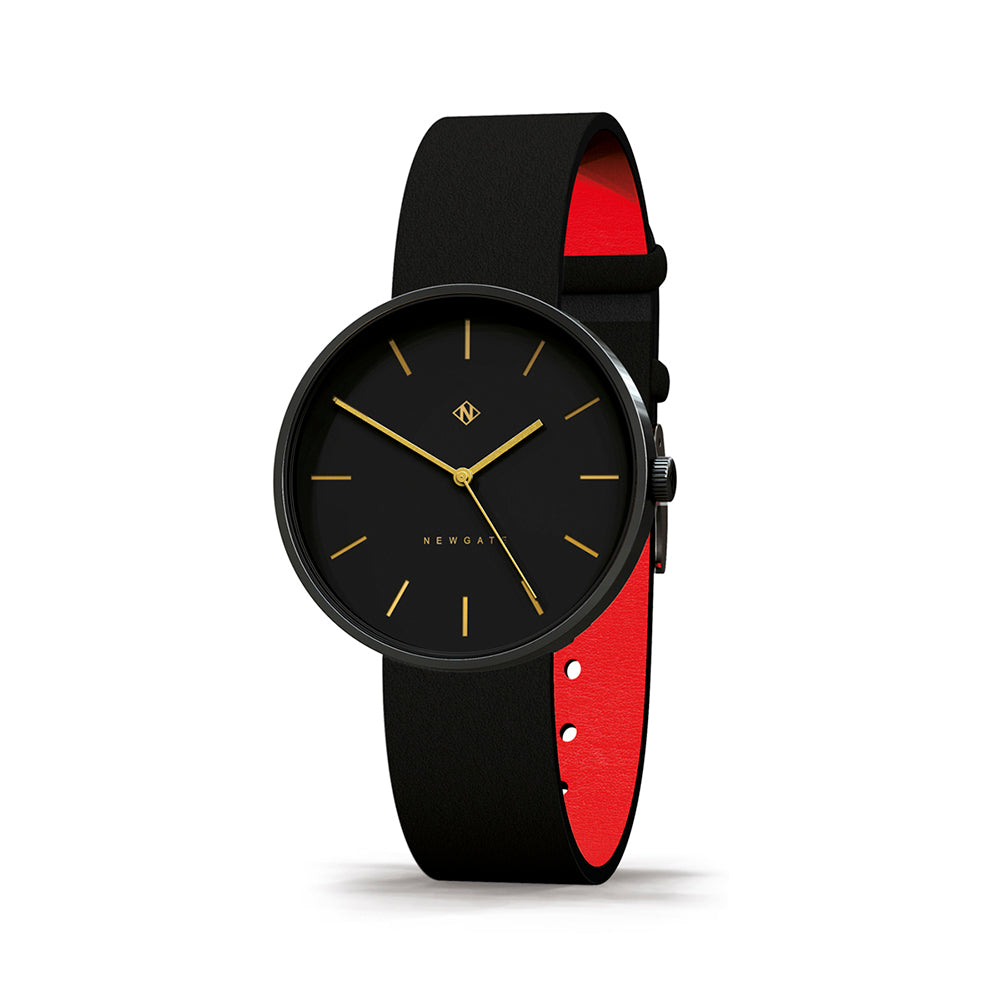 Black Newgate Watch Leather Brass