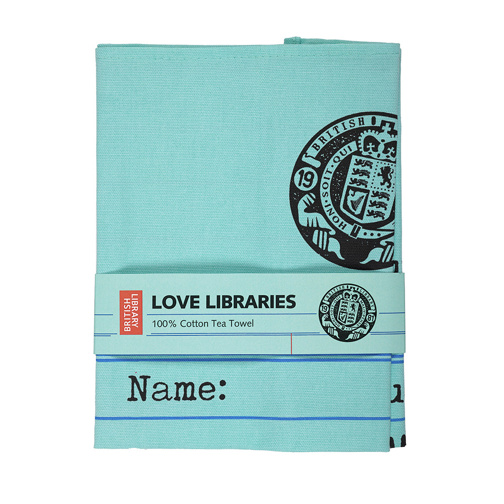 Library Card Tea Towel in Packaging British Library