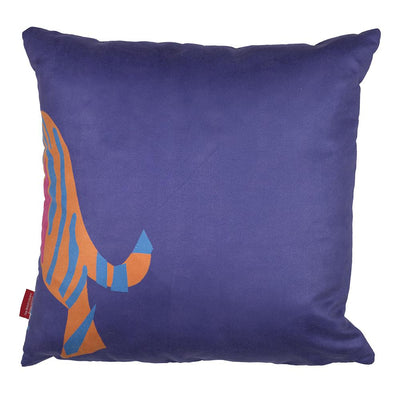 Tiger Cushion Back Blue with Orange Design